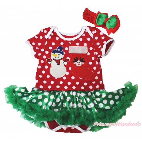 Christmas Minnie Dots Baby Bodysuit Green White Dots Pettiskirt & Big Nose Snowman & Reindeer Stocking Print JS4925