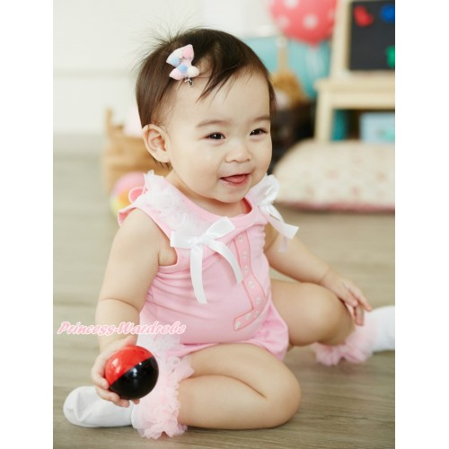 Light Pink Baby Pettitop White Ruffles & Bows & 1st Light Pink White Dots Birthday Number Print & Light Pink Ruffles Bloomers NG1898