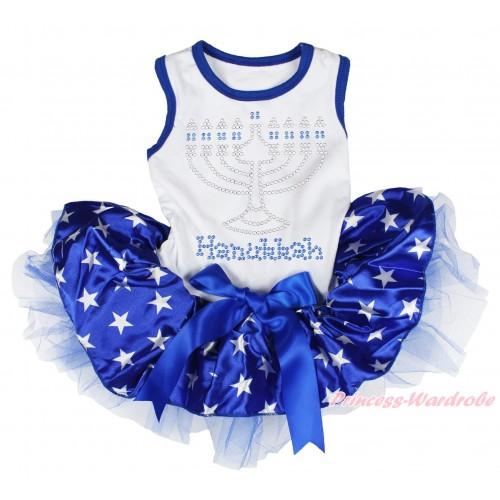 White Sleeveless Royal Blue Patriotic American Star Gauze Skirt & Sparkle Rhinestone Hanukkah Print & Royal Blue Bow Pet Dress DC218