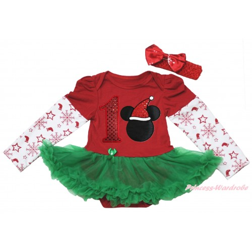Christmas Max Style Snowflakes Long Sleeve Red Baby Bodysuit Kelly Green Pettiskirt & 1st Sparkle Red Birthday Number & Christmas Minnie Print JS4933