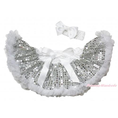 White Sparkle Bling Sequins New Born Pettiskirt N280