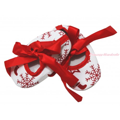 Christmas White Red Snowflakes Star & Red Ribbon Crib Shoes S656