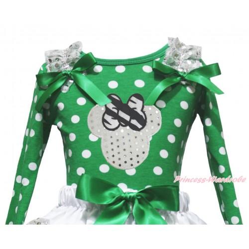 Kelly Green White Dots Top White Sequins Ruffles Kelly Green Bow & Sparkle White Minnie Print TB1390