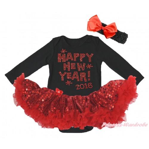 Black Long Sleeve Bodysuit Bling Red Sequins Pettiskirt & Sparkle Rhinestone Happy New Year 2016 Print JS4987
