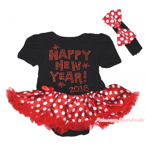 Black Baby Bodysuit Minnie Dots Pettiskirt & Sparkle Rhinestone Happy New Year 2016 Print JS4997