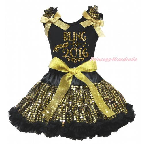 Black Tank Top Gold Sequins Ruffles Sparkle Gold Bows & Rhinestone Bling In 2016 Print & Black Gold Bling Sequins Pettiskirt MG1960