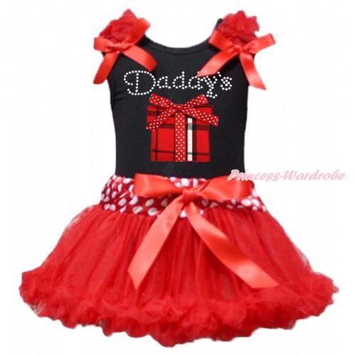 Black Baby Pettitop Red Ruffles & Bows & Rhinestone Daddy's Red White Checked Gift Box Print & Minnie Dots Waist Red Newborn Pettiskirt NG1918