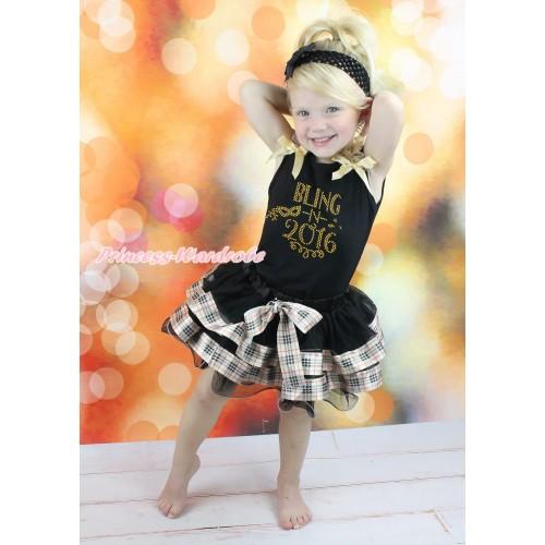 Black Baby Pettitop Goldenrod Ruffles & Bows & Rhinestone Bling In 2016 Print & Black Gold Black Checked Trimmed Newborn Pettiskirt NG1921
