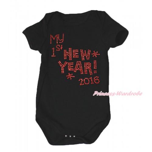 Black Baby Jumpsuit & Sparkle Rhinestone Happy New Year 2016 Print TH646