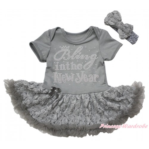 Grey Baby Bodysuit Grey Rose Pettiskirt & Sparkle Rhinestone Bling In The New Year Print JS5533