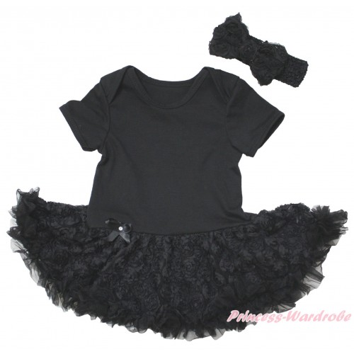 Black Baby Bodysuit Black Rose Pettiskirt JS5573