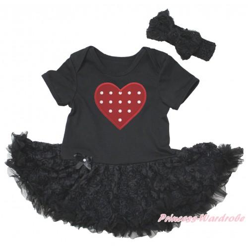 Black Baby Bodysuit Black Rose Pettiskirt & Red White Polka Dots Heart Print JS5574