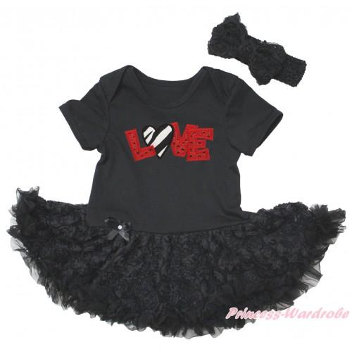 Black Baby Bodysuit Black Rose Pettiskirt & Sparkle Red LOVE Zebra Heart Print JS5575