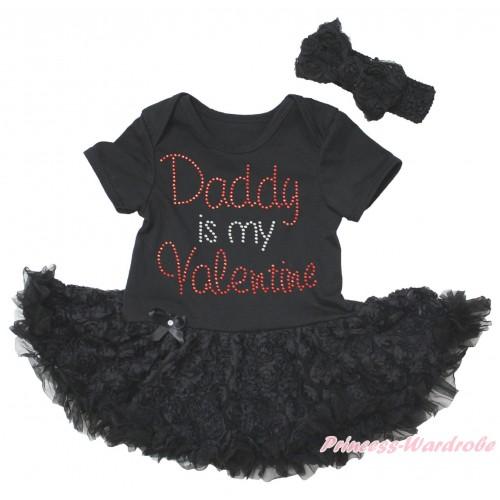 Black Baby Bodysuit Black Rose Pettiskirt & Sparkle Rhinestone Daddy Is My Valentine Print JS5577