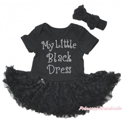 Black Baby Bodysuit Black Rose Pettiskirt & Sparkle Rhinestone My Little Black Dress Print JS5579