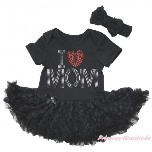 Black Baby Bodysuit Black Rose Pettiskirt & Sparkle Rhinestone I Love Mom Print JS5580
