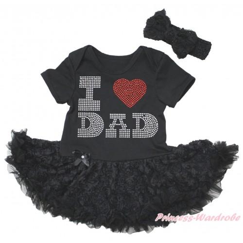 Black Baby Bodysuit Black Rose Pettiskirt & Sparkle Rhinestone I Love Dad Print JS5581