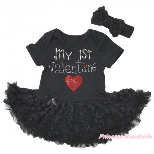 Black Baby Bodysuit Black Rose Pettiskirt & Sparkle Rhinestone My 1st Valentine Sparkle Red Heart Print JS5582