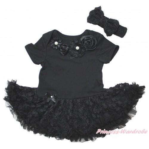 Black Baby Bodysuit Black Rose Pettiskirt & Black Vintage Garden Rosettes Lacing JS5583