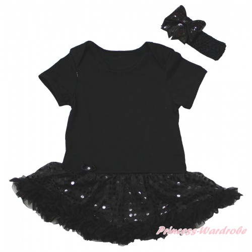 Black Baby Bodysuit Jumpsuit Bling Black Sequins Pettiskirt JS5610