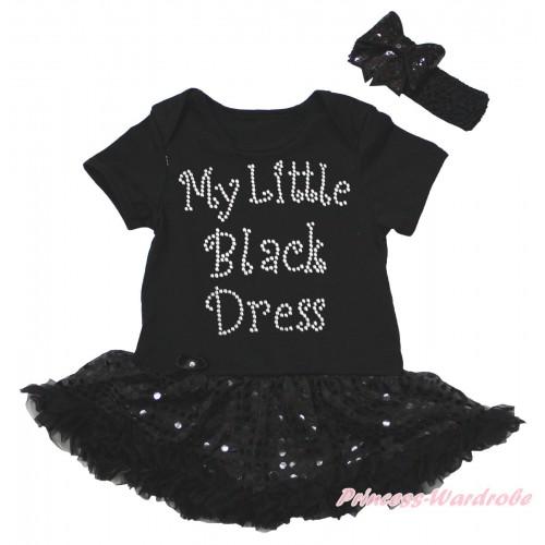 Black Baby Bodysuit Jumpsuit Bling Black Sequins Pettiskirt & Sparkle Rhinestone My Little Black Dress Print JS5611