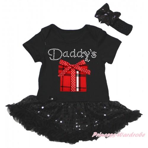 Black Baby Bodysuit Jumpsuit Bling Black Sequins Pettiskirt & Rhinestone Daddy's Red White Checked Gift Box Print JS5612