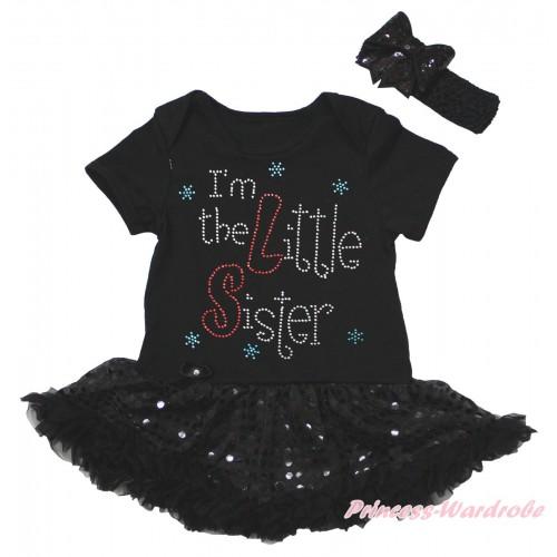 Black Baby Bodysuit Jumpsuit Bling Black Sequins Pettiskirt & Sparkle Rhinestone I'm The Little Sister Print JS5613