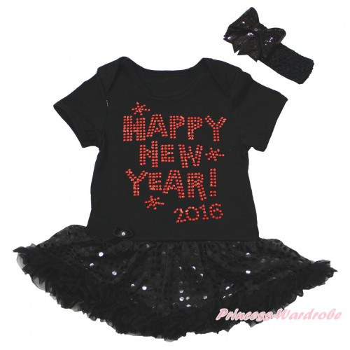 Black Baby Bodysuit Jumpsuit Bling Black Sequins Pettiskirt & Sparkle Rhinestone Happy New Year! 2016 Print JS5617