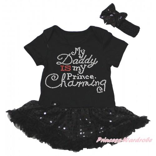 Black Baby Bodysuit Jumpsuit Bling Black Sequins Pettiskirt & Sparkle Rhinestone Daddy Is My Prince Charming Print JS5618