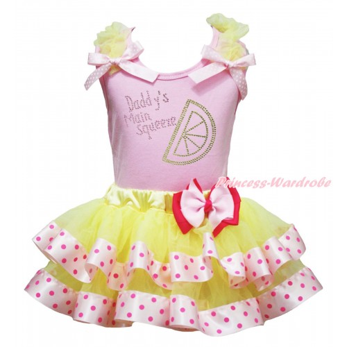 Light Pink Baby Pettitop Yellow Ruffles Light Pink White Dots Bow & Rhinestone Daddy's Main Squeeze Print & Yellow Light Hot Pink Dots Trimmed Baby Pettiskirt NG1927