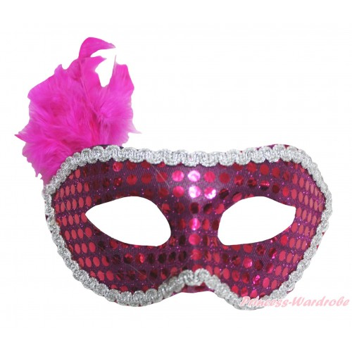 Mardi Gras Hot Pink Feather Bling Sequins Halloween Costume Face Eyes Mask C430