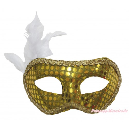 Mardi Gras Gold Feather Bling Sequins Halloween Costume Face Eyes Mask C432