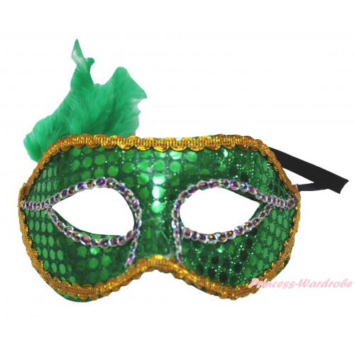 Mardi Gras Green Feather Bling Sequins Halloween Costume Face Eyes Mask C433