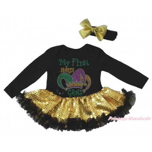 Mardi Gras Black Long Sleeve Bodysuit Bling Gold Sequins Black Pettiskirt & Sparkle Rhinestone My First Mardi Gras Clown Hat Print JS4961