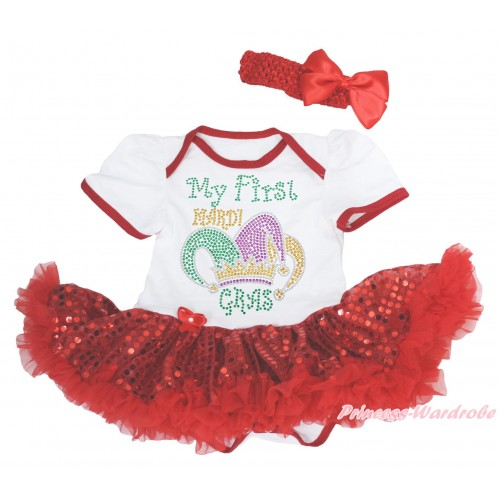 Mardi Gras White Baby Bodysuit Bling Red Sequins Pettiskirt & Sparkle Rhinestone My First Mardi Gras Clown Hat Print JS4967