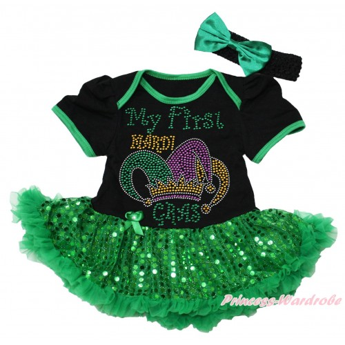 Mardi Gras Black Baby Bodysuit Bling Kelly Green Sequins Pettiskirt & Sparkle Rhinestone My First Mardi Gras Clown Hat Print JS4969