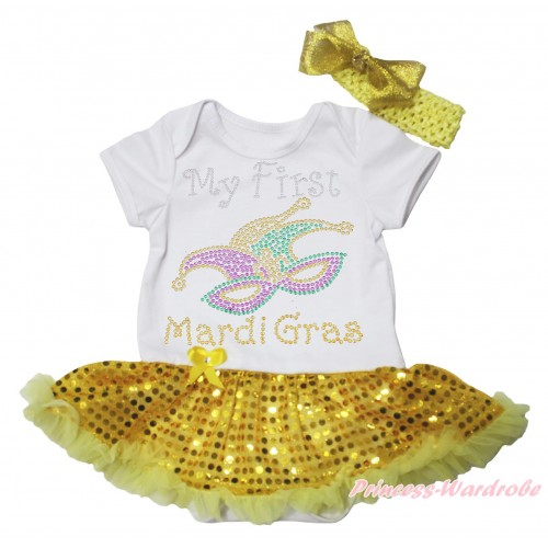 Mardi Gras White Baby Bodysuit Bling Yellow Sequins Pettiskirt & Sparkle Rhinestone My First Mardi Gras Clown Mask Print JS4970