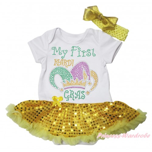 Mardi Gras White Baby Bodysuit Bling Yellow Sequins Pettiskirt & Sparkle Rhinestone My First Mardi Gras Clown Hat Print JS4971