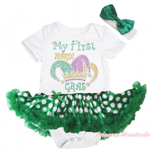 Mardi Gras White Baby Bodysuit Green White Dots Pettiskirt & Sparkle Rhinestone My First Mardi Gras Clown Hat Print JS4973