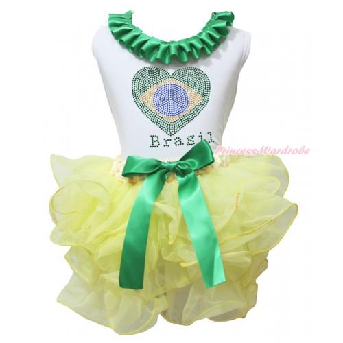World Cup White Tank Top Kelly Green Lacing & Sparkle Crystal Bling Rhinestone Brazil Heart Print & Yellow Petal Pettiskirt MG2244
