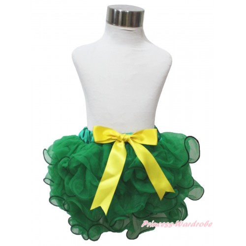 Mardi Gras Kelly Green Flower Petal Newborn Baby Pettiskirt & Yellow Bow N281