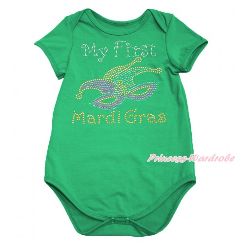 Mardi Gras Kelly Green Baby Jumpsuit & Sparkle Rhinestone My First Mardi Gras Clown Mask Print TH643