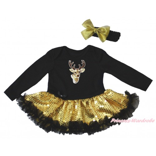 Christmas Black Long Sleeve Bodysuit Bling Gold Sequins Black Pettiskirt & Yellow Reindeer Print JS4944