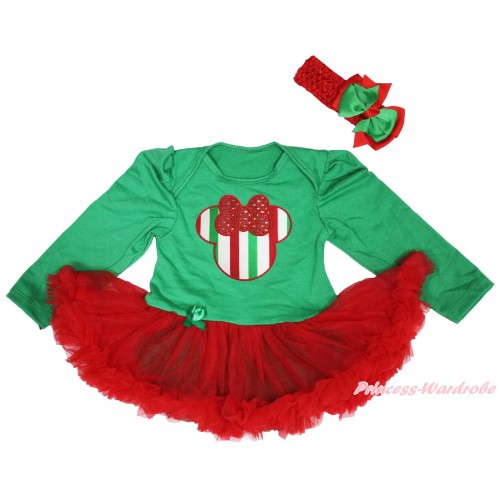 Christmas Kelly Green Long Sleeve Bodysuit Red Pettiskirt & Red White Green Striped Minnie Print JS4950
