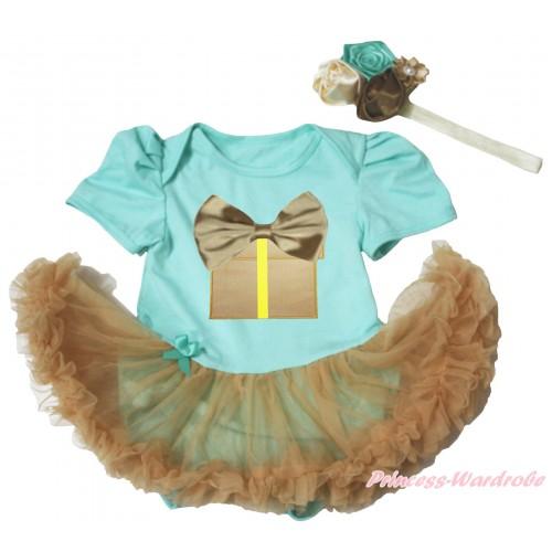 Aqua Blue Baby Bodysuit Goldenrod Pettiskirt & Goldenrod Bow Birthday Gift Print JS4977