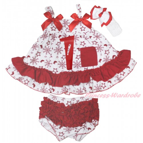 Xmas Snowflakes Socks Stars Swing Top Red Bow & 1st Sparkle Red Birthday Number Painting matching Panties Bloomers SP38