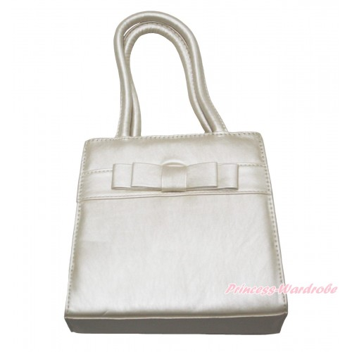 Lovely White Bow Cute Handbag Petti Bag Purse With Strap CB181