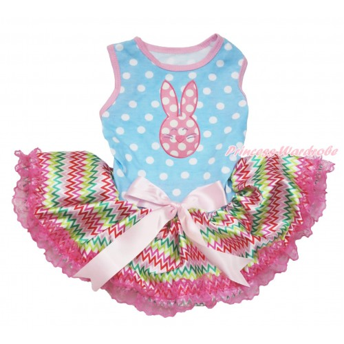 Easter Light Blue White Dots Sleeveless Rainbow Chevron Lace Gauze Skirt & Pink White Dots Rabbit Print & Light Pink Bow Elegent Pet Dress DC207