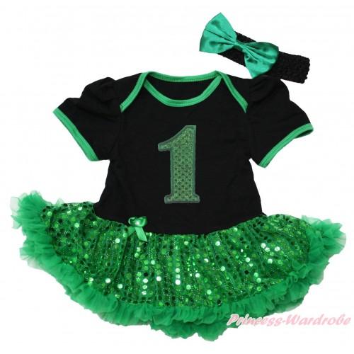 Black Baby Bodysuit Bling Kelly Green Sequins Pettiskirt & 1st Sparkle Kelly Green Birthday Number Print JS4374
