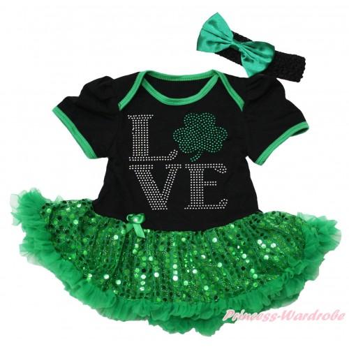 St Patrick's Day Black Baby Bodysuit Bling Kelly Green Sequins Pettiskirt & Sparkle Rhinestone Love Clover Print JS4377